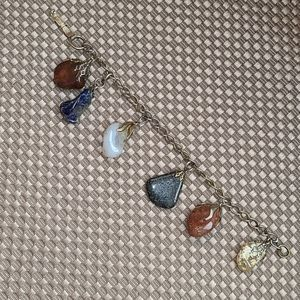 Natural stone dangle chain bracelet - vintage